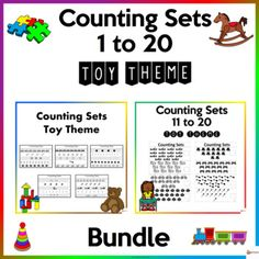 Let your students have fun counting 1 to 20 with our bundle of worksheets in the toy edition.A. Counting Sets 1 to 10 worksheetsThis includes 10 counting practice sheetsCounting practice sheets for Numbers 1-10The file is in PDF Format. A4 paper size.B. Counting Sets 11 to 20 WorksheetsThese workshe... School Resources, Classroom Resources, Math Activities, Teacher Resources, A4 Paper, Paper Size, Classroom Organization, Classroom Management, School Stuff