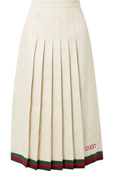 Gucci - Pleated embroidered linen and silk-blend midi skirt Cotton Maxi Skirts, Good Color Combinations, Gucci Shoulder Bag, Matching Shirts, Short Skirts, Printed Cotton, Cheer Skirts, Midi Skirt, Rosetta Getty