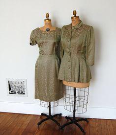 Vintage 1950s Satin Brocade Cocktail Dress & Jacket Set by Bohemian Bisoux Vintage on Etsy