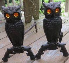 Original Cast Iron Metal Owl Fireplace Andirons Amber Blown Glass Glowing Eyes