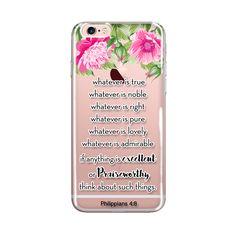 iPhone Case Bible Verse, ClearTransparent Phone Case, Bible Scripture Flower Art, iPhone Case 6/6s 6splus/6plus, Philippians 4:8