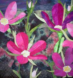 Pelton's Rose Gentian by Nancy Cook - Fiber Art