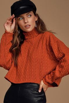 Don the Lulus Down To Earth Rust Orange Cropped Cable Knit Turtleneck Sweater for a perfectly cute day! Cable knit sweater with a turtleneck and cropped hem. Denim And Lace, Orange Turtleneck Sweater, Cropped Sweater, Velma Costume, Rust Orange, Lace Up Booties, Cable Knit Sweaters, Turtle Neck, Knitting