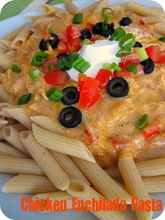 One of the best recipes ever & kid approved - Chicken Enchilada Pasta. For healthier version use Rice Shreds instead of cheese and brown rice pasta. Best Mexican Recipes, Great Recipes, Favorite Recipes, Recipe Ideas, Yummy Recipes, Drink Recipes, Italian Recipes, Pasta Dishes, Food Dishes