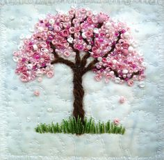 9 Blossom Tree 9 French knots and beads make the blossoms. The background fabric is called snow.Blossom Tree 9 French knots and beads make the blossoms. The background fabric is called snow. French Knot Embroidery, Simple Embroidery, Silk Ribbon Embroidery, Crewel Embroidery, Hand Embroidery Designs, Cross Stitch Embroidery, Embroidery Patterns, Band Kunst, French Knots
