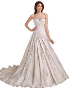 GEORGE BRIDE Strapless Beaded Bodice Satin Court Train Wedding Dress