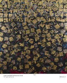 """NO"" by Barbara McGivern © Acrylic on canvas using gold leaf and Swarovski crystals"