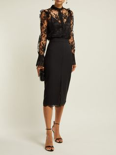Luxury Designer clothes, shoes, bags and accessories from designer brands including DVF, Christian Louboutin and Alexander McQueen. Lace Skirt Outfits, Lace Skirt And Blouse, Black Lace Skirt, Black Lace Blouse, Pencil Skirt Outfits, Alexander Mcqueen Couture, Alexander Mcqueen Dresses, Looks Black, Blouse Outfit