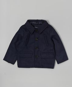 Loving this Navy Single-Breasted Coat - Infant, Toddler & Boys on #zulily! #zulilyfinds