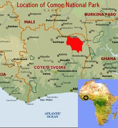 Ivory Coast Comoe National Park | Map showing the location of Comoe National Park world heritage site in ...