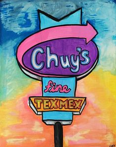 """Chuy's Fine Tex Mex, Acrylic and glow paint, 16"""" by 20"""" canvas   medium contemporary pop art painting by artist Liz Kelly Zook   wall art, stretched canvas, stretched canvas wall art, painting, pop art painting, contemporary pop art painting, colorful art, pop painting, home decor, nashville, pop artist, female pop artist, contemporary artist, paintings, nashville"""