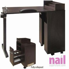 Eurostyle Portable Manicure Table Foldable Nail Dark Wood