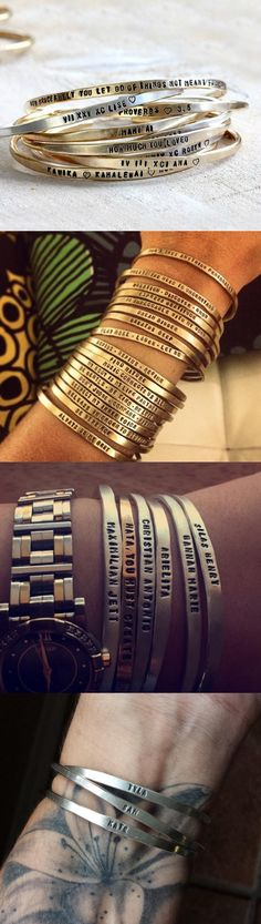 Personalized sterling silver cuff bracelets from Praxis Jewelry. Also available in brass and solid 14k gold.