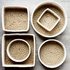 Crochet pattern bundle for jakigu's popular jute and cotton stacking baskets. Two separate sets - Round and Square. Three sizes in each set - small, medium, and large.
