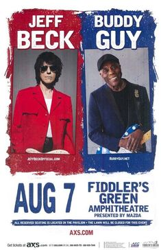 Concert poster for Jeff Beck and Buddy Guy  at Fiddler's Green in Denver, CO in…