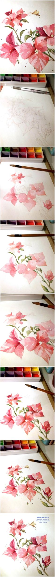 Watercolor or colored pencil flower