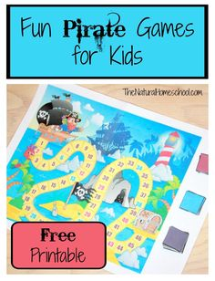 Fun Pirate Games for Kids | Free printable board game and cards. Cute kids activity for Talk Like a Pirate Day!
