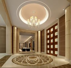 Luxury Mansion Interior Entrance with Medallion Symbol on Ceramic Flooring