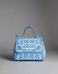 BORSA SICILY MEDIA VITELLO STAMPA BLU MAIOLICA - Borse medie in pelle - Dolce&Gabbana - Inverno 2015