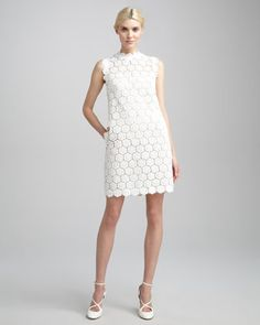 Rose+Guipure+Lace+Shift+Dress,+Ivory+by+Valentino+at+Neiman+Marcus.