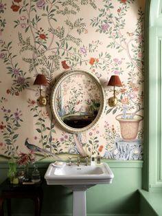 Interior Wallpaper, Bathroom Wallpaper, Home Wallpaper, Scandi Wallpaper, Rustic Wallpaper, Bathroom Inspiration, Interior Inspiration, Design Inspiration, De Gournay Wallpaper