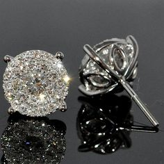 Diamond Stud Earrings 1.85ctw Round Cluster Solitaires