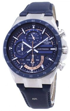 Features:  Stainless Steel Case Leather Strap Solar Movement Caliber: 5585 Mineral Crystal Blue Dial Analog Display Chronograph Function 1-Second Stopwatch Battery Level Indicator Regular Timekeeping Luminous Hand And Markers Accuracy: ±20 Seconds Per Month Date Display Pull/Push Crown Solid Case Back Buckle Clasp 100M Water Resistance  Approximate Size Of Case: 56 x 47.6 x 12.5mm