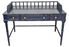 Bamboo-Style Desk ll indigo blue finish with gold-accented fretwork