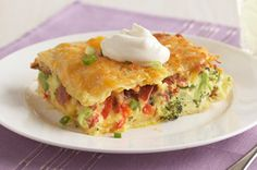 Kraft Recipes: Bacon, Egg & Broccoli Bake - Layered with ingredients usually on hand in your pantry, this casserole doesn't require a special trip to the store.