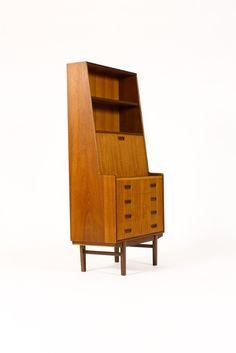 Danish Modern / Mid Century Teak Upright Secretary Desk — Drop Front + Drawers