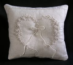 Hand embroidered ring bearer pillow by PseudoFarms on Etsy