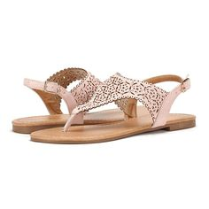 LE MIU MEDINIE Women Rhinestone Casual Wear Gladiator Flat Cut Out Sandals *** Additional details at the pin image, click it  : Gladiator sandals