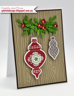 Splotch Design - Jacquii McLeay - Stampin Up - Ornament Keepsakes Christmas Card