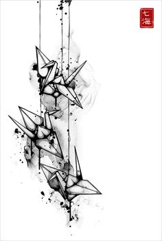 Origami Crane Tattoo Concept (Illustration by Nanami Cowdroy) Origami Tattoo, Origami Owl, Origami Cranes, Origami Folding, Origami Animals, Origami Paper, Origami Design, Love Tattoos, Tatoos