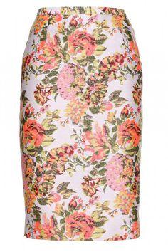 Stella McCartney Neon Floral Jacquard Pencil Skirt - Bright Printed Spring Skirts - ELLE