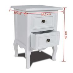 vidaXL Nightstands with 2 Drawers MDF White Bedroom Bedside Table Cabinet - 8718475830641 For Sale, Buy from Bedside Tables collection at MyDeal for best discounts. Bedroom Furniture, Home Furniture, White Bedside Cabinets, Twin Bed Sheets, Table Cafe, White Nightstand, Bedroom Night Stands, Wood Drawers, White Drawers