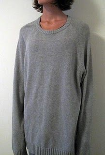 A refashion tutorial on upcycling a men's sweater into a cute DIY sweater dress.