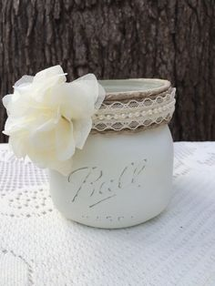 Eggshell colored distressd mason jar with by TwinenWineCreations