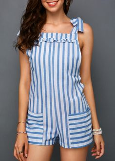 Women'S Blue Striped Casual Romper Strappy Stringy Selvedge Printed Tie Shoulder Summer Romper By Rosewe Stringy Selvedge Pocket Stripe Print Tie Rompers Women, Jumpsuits For Women, Cute Casual Outfits, Summer Outfits, Embellished Jumpsuit, Look Fashion, Womens Fashion, Grey Long Sleeve Tops, Stripe Print