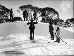 Snow shoeing over a high jump