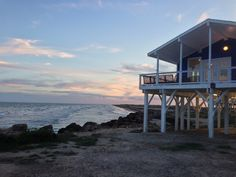 San Luis Pass Vacation Rental - VRBO 3565872ha - 3 BR Gulf Coast House in TX, Perched at the Edge of the Beach - for 2 houses