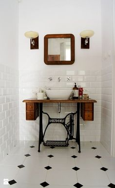 UPCYCYLE a singer sewing table & peddle system into a vanity in the bathroom! Repurpose estate sale finds like this Singer sewing table into a bathroom vanity! Black Bathroom Decor, Art Deco Bathroom, Bathroom Ideas, Downstairs Bathroom, Vintage Bathroom Decor, Bathroom Designs, Bathroom Wall, Bathroom Gray, Vintage Bathrooms