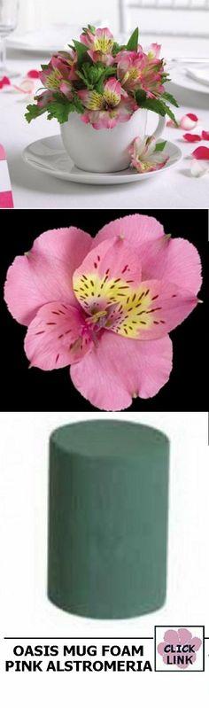 Centerpiece Ideas - Wedding Decorations Alstromeria and Mug Flower Foam - buy florist supplies and fresh flowers - click on link