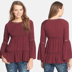 Haute Society Peasant Blouse Very on-trend for spring! Lightweight boho top, perfect with a statement necklace. Gorgeous burgundy/wine color, even prettier in person! Brand is called Haute Society Boutique Tops