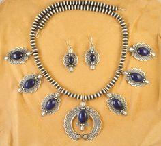Navajo Sterling Silver Squash Blossom Set Lapis Handmade Beads By Darrell Cadman