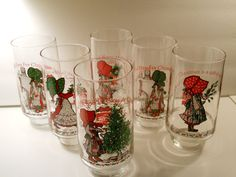 6 Vintage Holly Hobbie Coca Cola Christmas Glasses, 1970's American Greetings Limited Edition Glasses, Merry Christmas Series by PiccoloPattys on Etsy