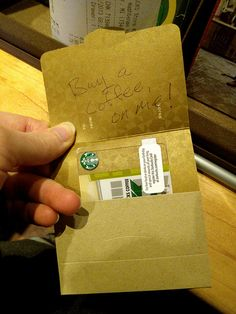"""Bought a Starbucks gift card, wrote """"buy a coffee, on me!"""" on it, and left it on the counter for the person in line behind me. I got nervous and ran out of there too fast to see their reaction, though – whoops! Kindness Matters, Acts Of Kindness, Kindness Ideas, Best Friend Gifts, Gifts For Friends, Custom Gift Cards, Blessing Bags, Kindness Activities, Starbucks Gift Card"""