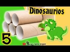 5 Dinosaurios de tubos de cartón, reciclaje creativo - YouTube Baby Crafts, Diy Crafts For Kids, Dinosaur Party Decorations, Dinosaur Crafts, Activities For Kids, Homemade, Toys, Projects, Dinosaurs