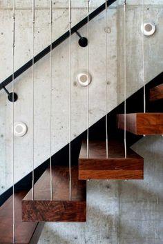 escalier suspendu, escalier flottant design bois et fer
