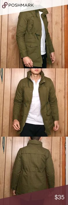 🤩FASHION🤩Slim Pocket Cargo Field Jacket New without tag Asian Imported!  100% cotton/ Size labeled XL Fits US Small  Adjustable hip/waist/ Army green   Reference model: height 5.8ft, weight 158lbs (wears S)  Tag: Zara style, Guess, Banana Republic, Gap, Lucky brand] Fashion Jackets & Coats Military & Field